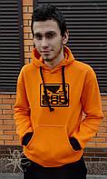 Оранжевая теплая мужская толстовка c капюшоном, худи на флисе, кенгурушка, батник Bad Boy Black, Реплика