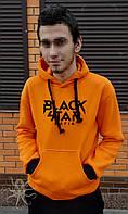 Оранжевая теплая мужская толстовка c капюшоном, худи на флисе, кенгурушка, батник Black Star Mafia, Реплика