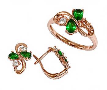 """Набор фирмы Хuping """"серьги и кольцо"""" Цвет:позолота с красным оттенком.Камни:белый,зеленый циркон.Есть 21р."""