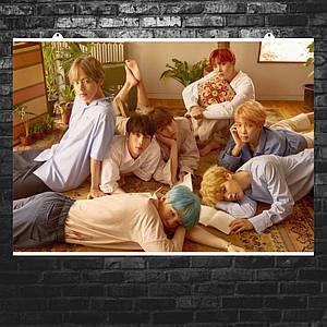 """Постер """"BTS на полу"""". Bangtan Boys, Beyond The Scene, k-pop. Размер 60x43см (A2). Глянцевая бумага"""
