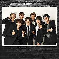 """Постер """"BTS, на белом фоне в чёрных костюмах"""". Bangtan Boys, кпоп. Размер 60x42см (A2). Глянцевая бумага"""