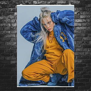 """Постер """"Billie Eilish. Билли Айлиш в синей пижаме"""". Размер 60x43см (A2). Глянцевая бумага"""