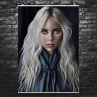 """Постер """"Billie Eilish. Билли Айлиш с длинными волосами"""". Размер 60x43см (A2). Глянцевая бумага"""
