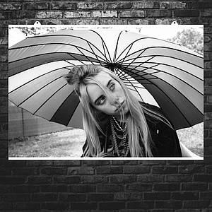 """Постер """"Billie Eilish. Билли Айлиш под зонтом"""". Размер 60x40см (A2). Глянцевая бумага"""