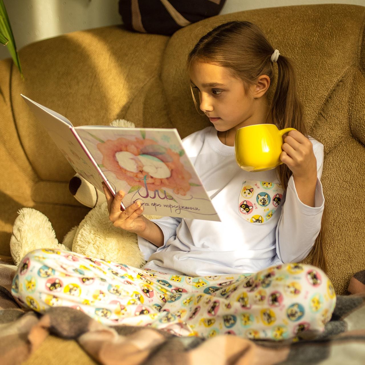 Детская фланелевая пижама с кофтой Котики 140