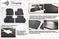 Резиновые коврики в салон на  Mitsubishi Outlander XL 07 -13-(Митсубиси Аутлендер ХЛ)