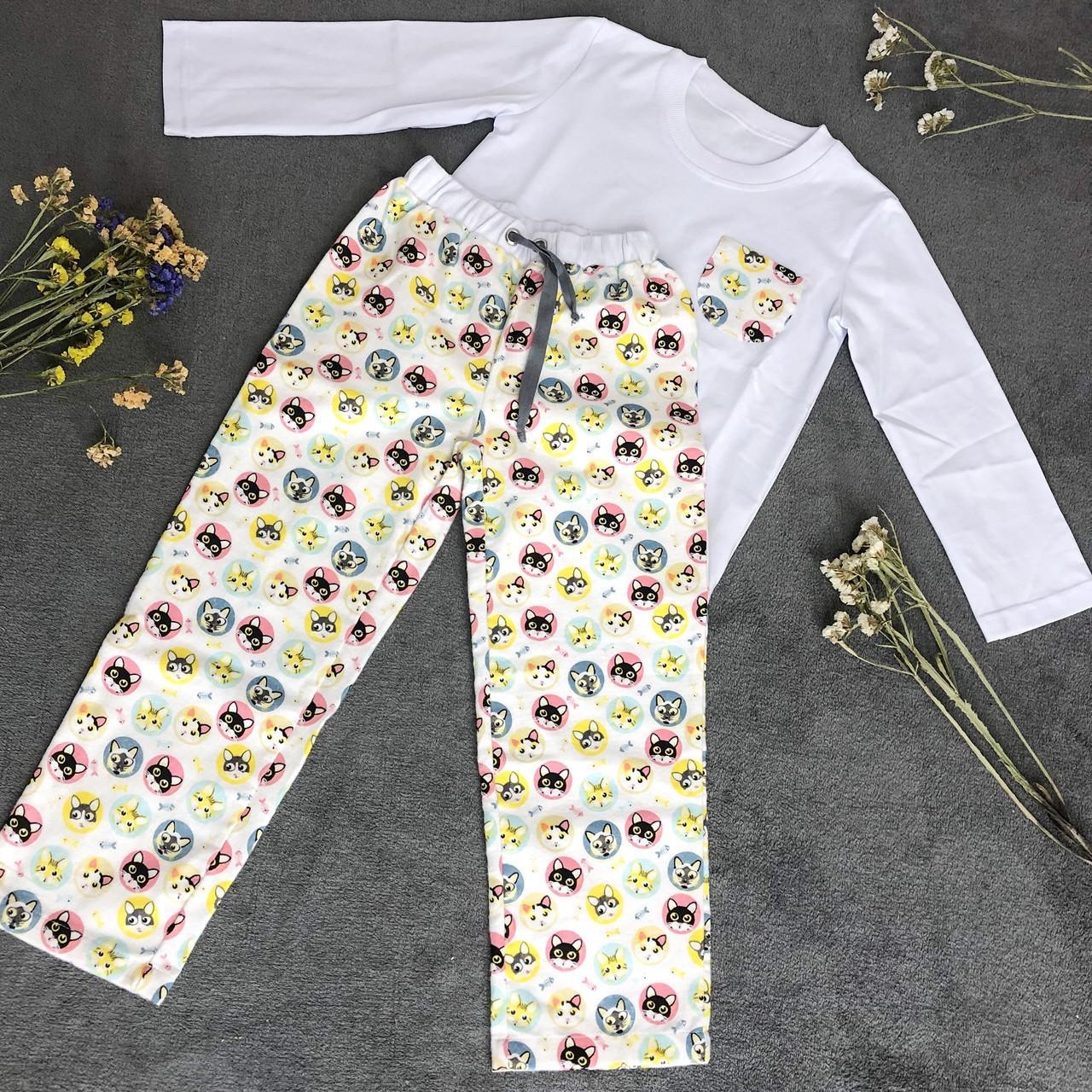 Детская фланелевая пижама с кофтой Котики 128