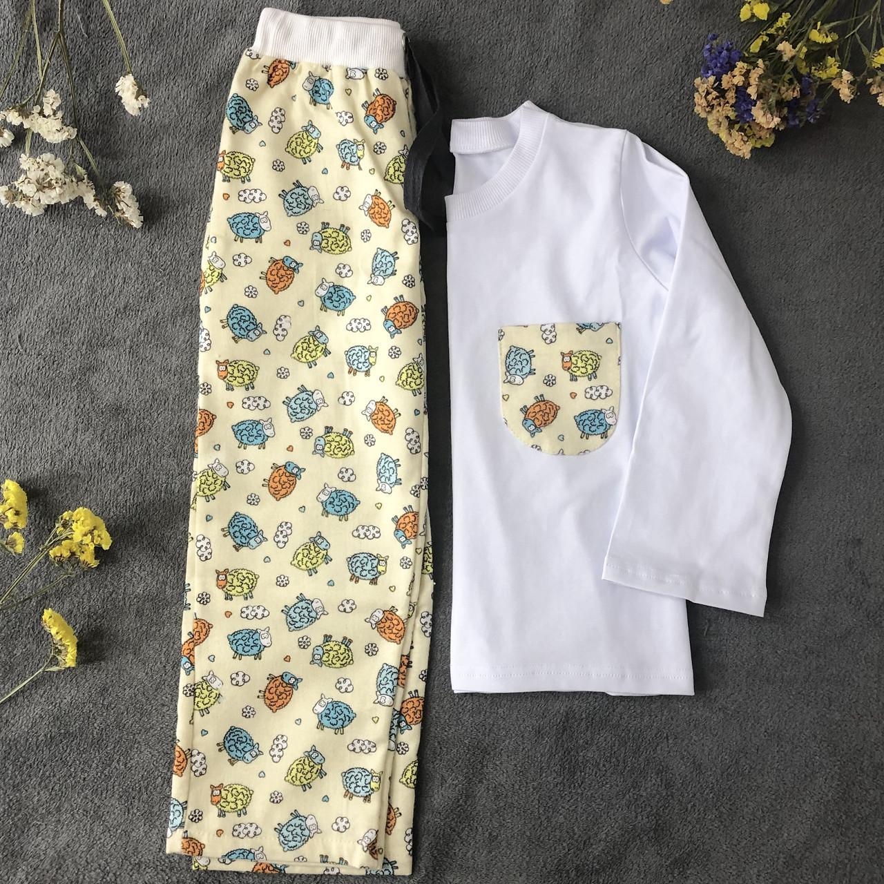 Детская фланелевая пижама с кофтой Овечки 128