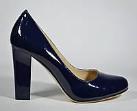 Туфли женские на каблуке Magnori синий лак