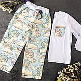 Детская хлопковая пижама с кофтой Единороги 134 см, фото 8