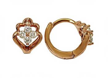 Серьги детские фирмы XР, цвет советского золота. Камень: белый циркон. Высота серьги 1,1 см. ширина 8 мм.