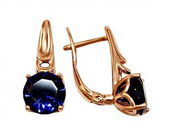 Серьги XР. Цвет:позолота с кр.от. Камни: синий циркон. Высота серьги: 1,9 см. Ширина: 8 мм.