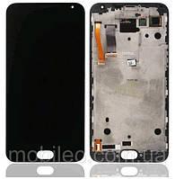 Дисплей (LCD) Meizu MX5 | MX5e | MX5 Lite OLED с тачскрином и рамкой, чёрный