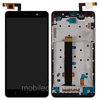 Дисплей (LCD) Xiaomi Redmi Note 3 Pro с тачскрином и рамкой, чёрный (147x73мм)
