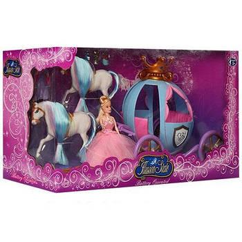 Карета с лошадью и кукла 15см, 2 лошади,фея,мыши,свет на батарейке в коробке 48,5-26-19,5см