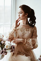 Короткое золотистое коктейльное платье (S, M, L)