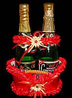 Корзина для свадебных бутылок (красная)