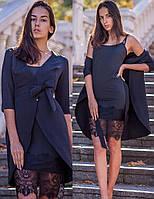 Платье двойка: молодежное бельевое платье с кружевом и пиджак (S, M, L, XL)