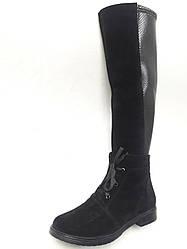 Женские зимние сапоги черные замшевые+вставка стрейч (101366)