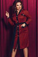Стильное женское платье в клетку с поясом Батал