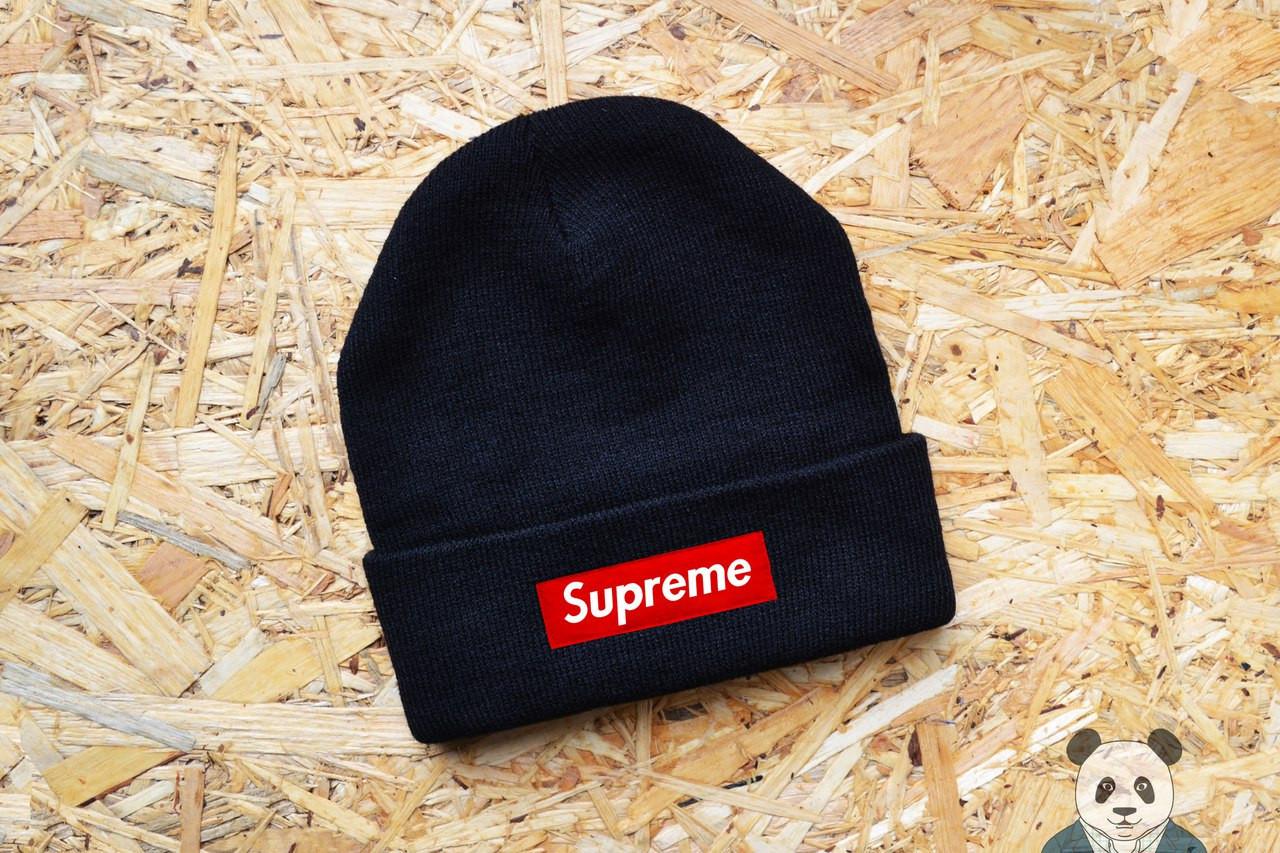 Модна чоловіча шапка супрім,Supreme Beanie чорна