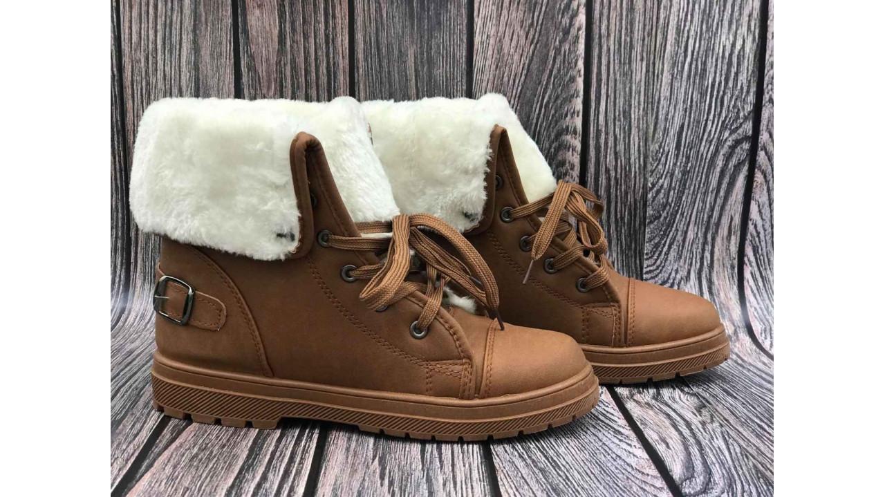 Жіночі черевики Тімберленди коричневі з хутряним одворотом 37-40