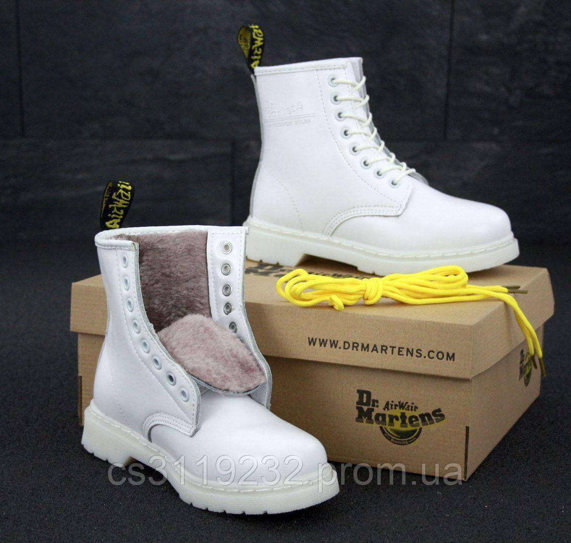 Женские ботинки зимние Dr Martens 1460 (мех) (белый)