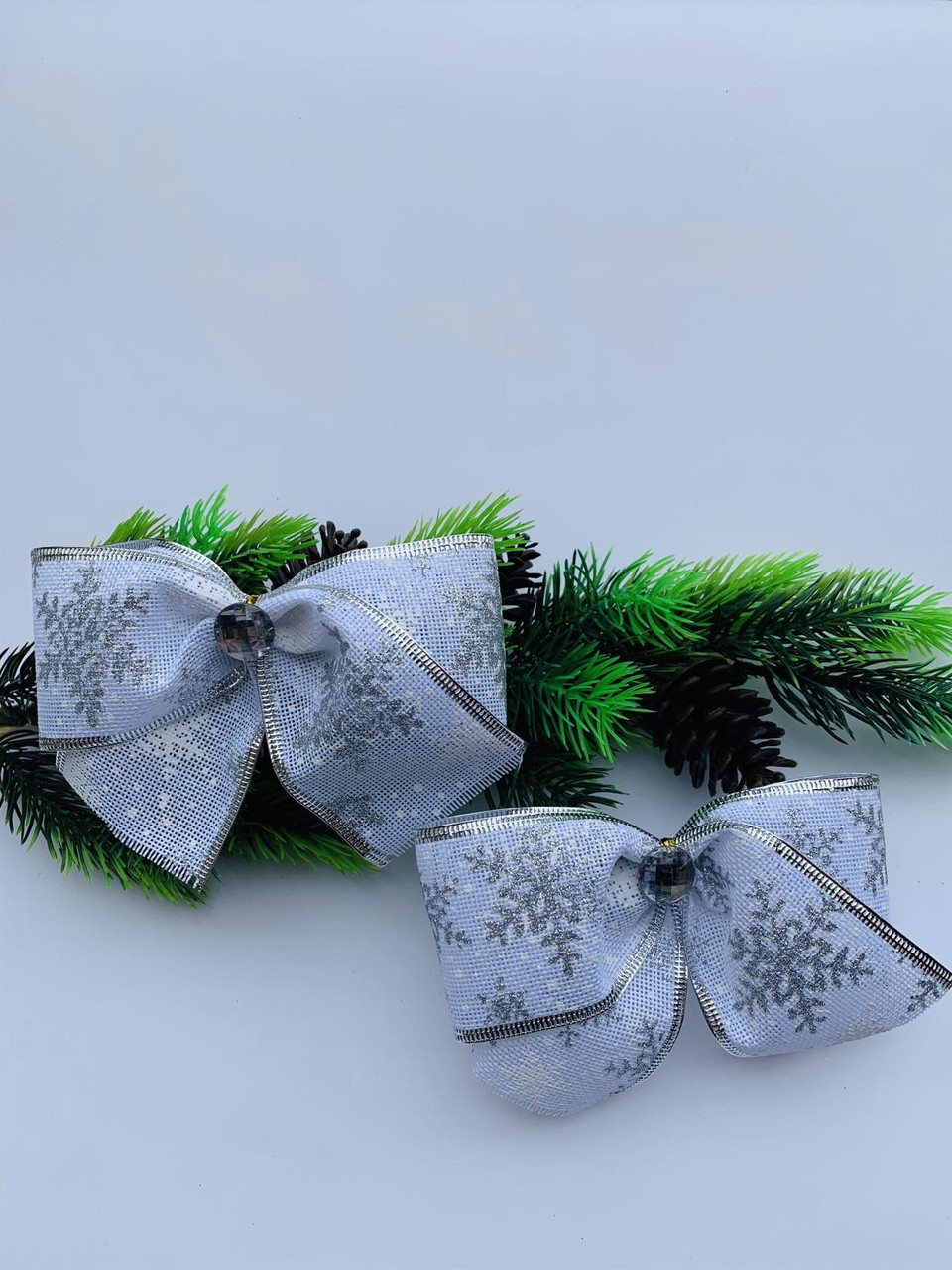Новогодний декор. Бантик новогодний белый(15 см)(10 штук)