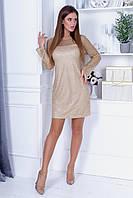 Коктельное приталенное платье из трикотажа и сетки с напылением блёсток, длинный прозрачный рукав (42-46), фото 1