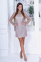 Ошатне ніжне коротке плаття з трикотажу і ажурної вишивки, довгий рукав (42-46), фото 1