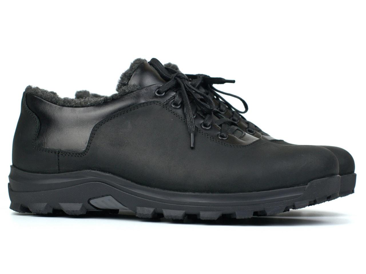 Большой размер кожаные зимние полу-ботинки на меху черные мужские Rosso Avangard Ragn Crazy Reba 2 Black BS