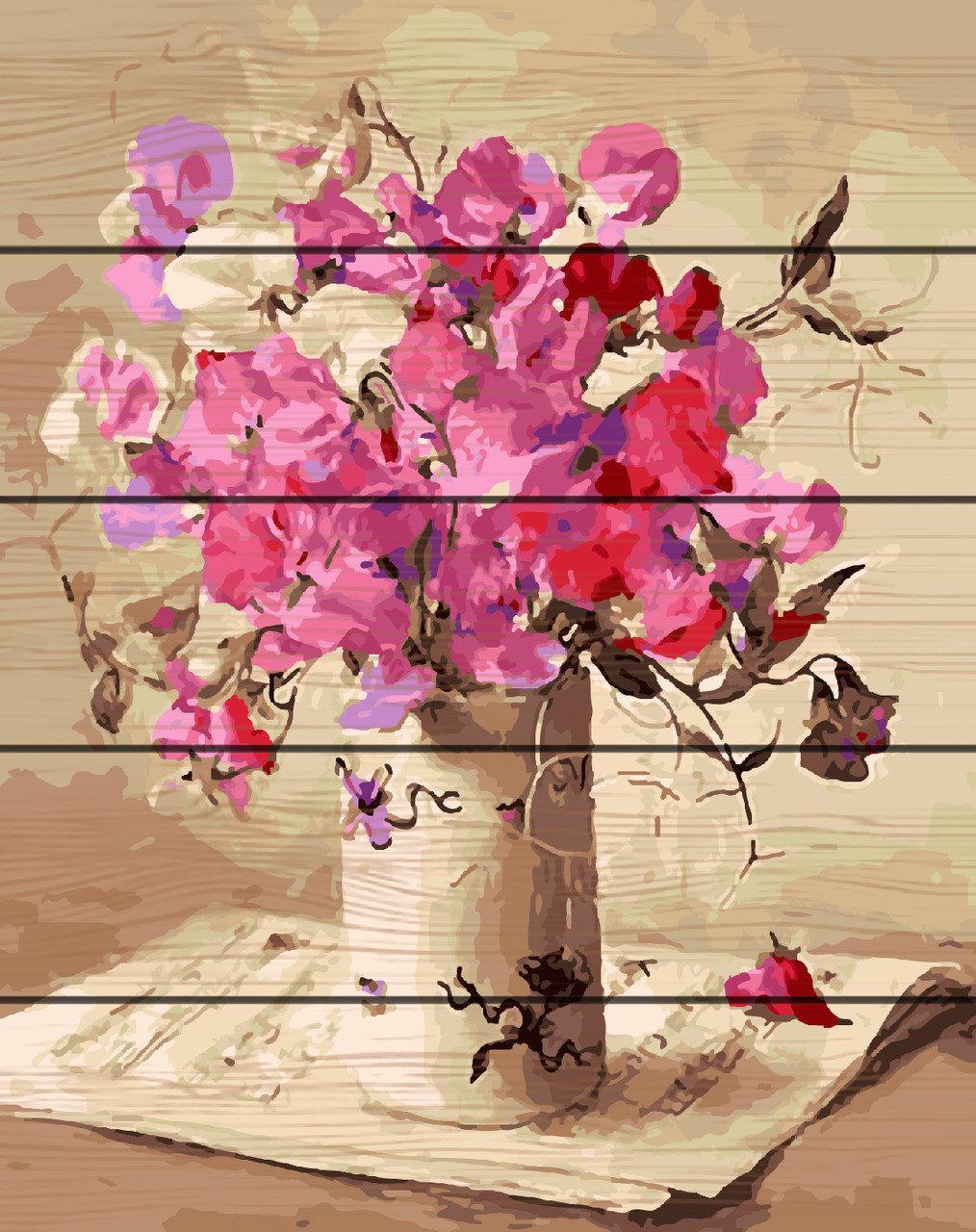 Картина за номерами на дереві Букет і ноти (RA-GXT26111) 40 х 50 см