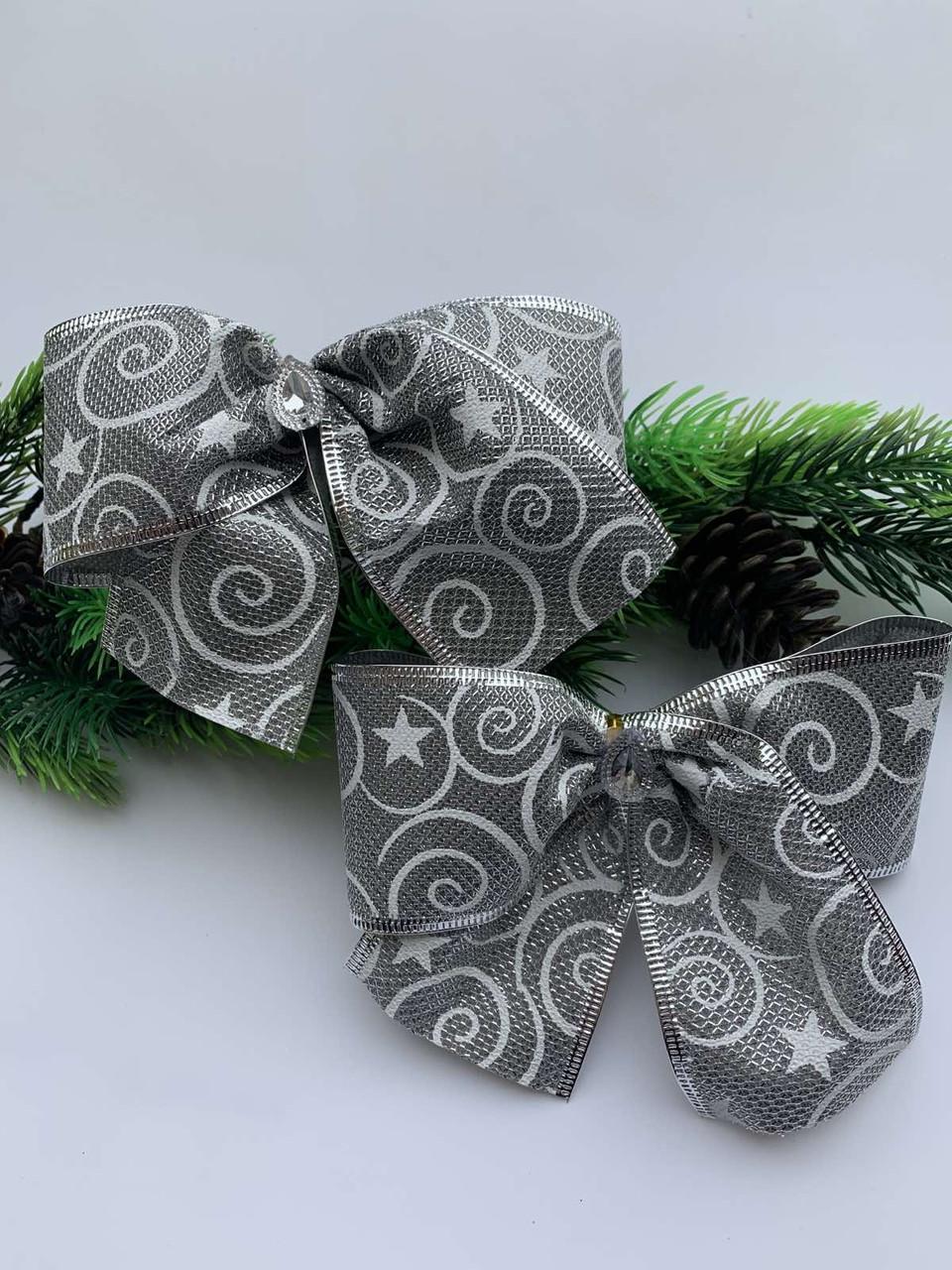 Новогодний декор.Украшение новогоднее-бантик серебро(15 см)(10штук)