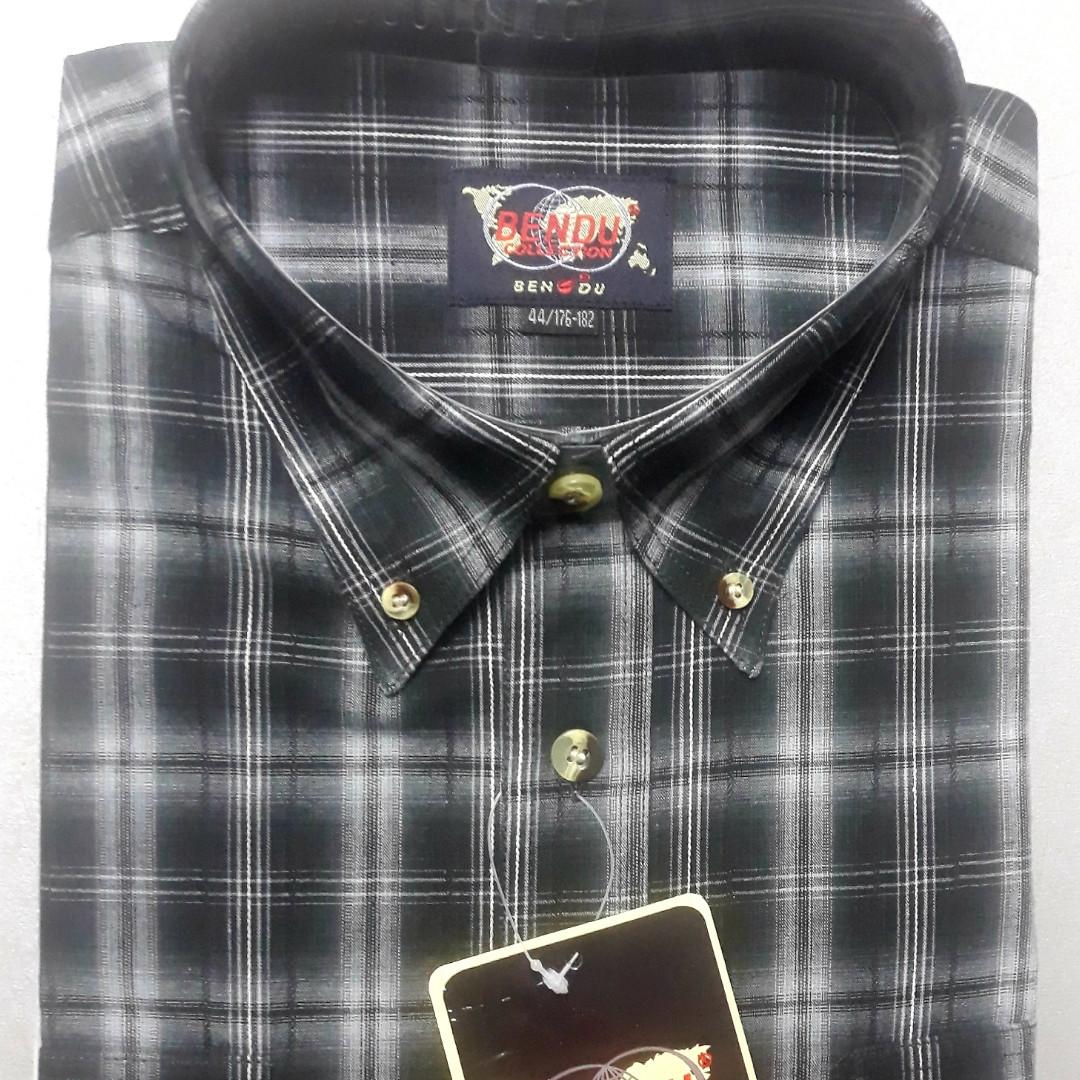 Мужская рубашка в клетку BENDU 100% хлопок (размер 40)
