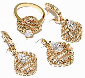 "Набор ХР ""кулон,серьги и кольцо ""Цвет:позолота; Камни:белый циркон . Кольцо 16р. 18р. 19р."