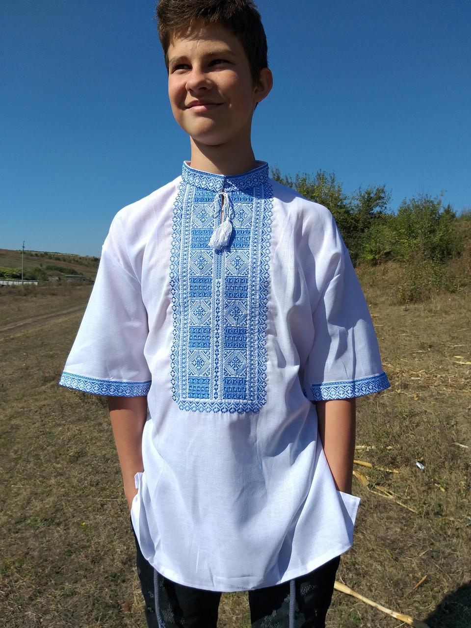 Мужская вышиванка на домотканке, короткий рукав, 56 р-р, 480/550 (цена за 1 шт. + 70 гр.)