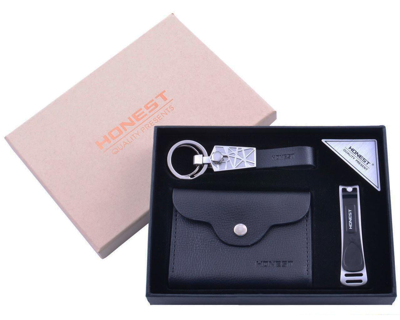 Подарочный набор с портмоне, ногтевыми кусачками и брелком для ключей Honest 3в1