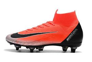 Футбольные бутсы с носком Nike Mercurial Superfly VI Elite CR7 SG Mango Black