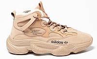 Зимние мужские кроссовки Adidas Yeezy 500 Beige (адидас изи буст 500, внутри мех)