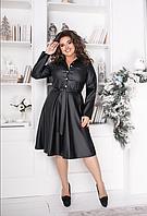 Женское кожаное платье-рубашка, с 48-54 размер, фото 1