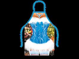 Прикольный фартук сексуальной Снегурочки в синем