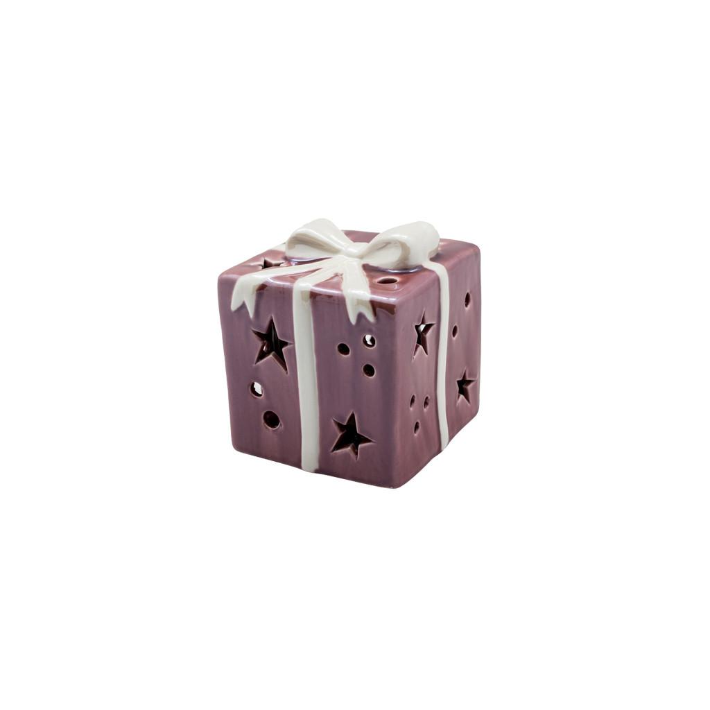LED Декор Подарок бордовый 6см 109281