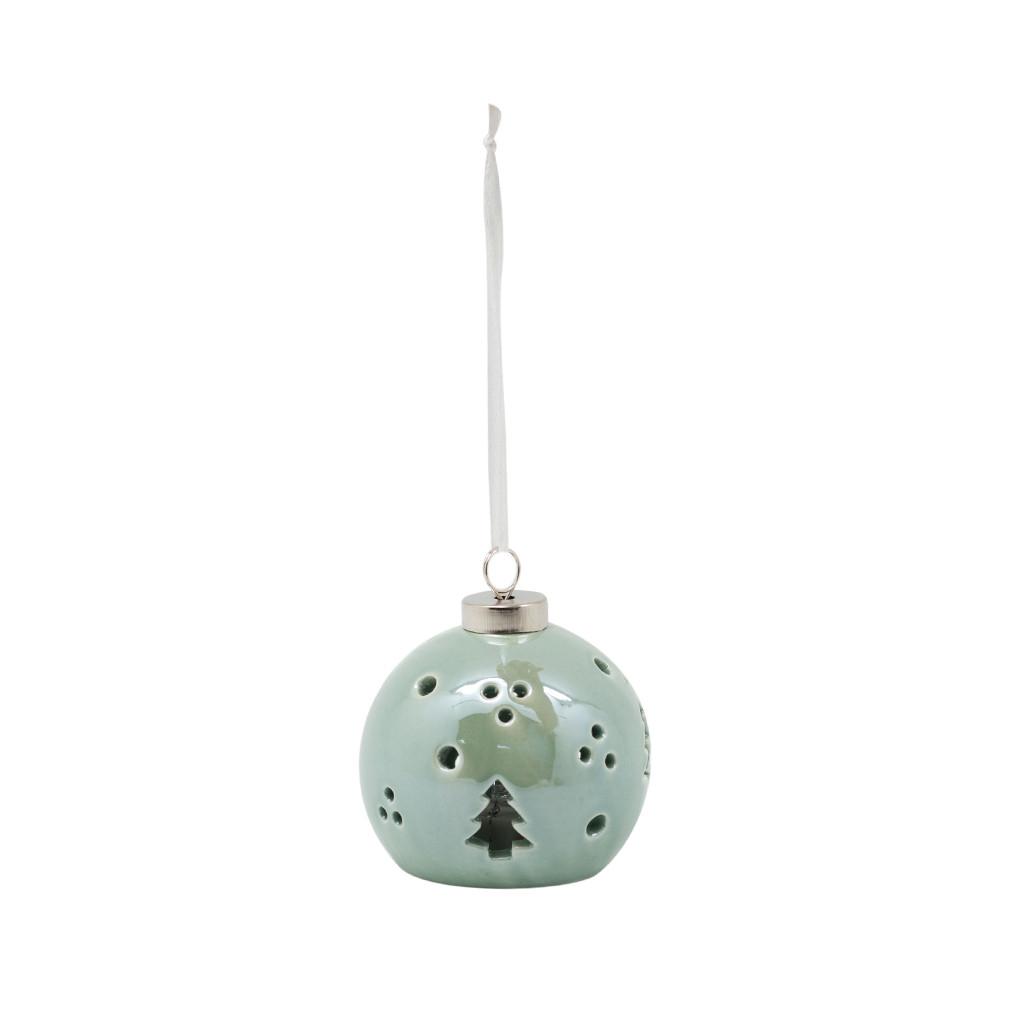 LED Шар керамический Ёлки зелёный 8см 109274