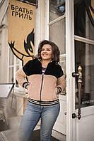 Женская короткая  шубка-бомбер из искусственного  кролика,  на молнии с карманами (48-58) Бежевый, фото 1