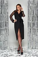 Нарядное платье с запахом черное с гипюром