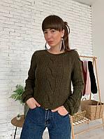 Вязаный женский свитер цвета хаки