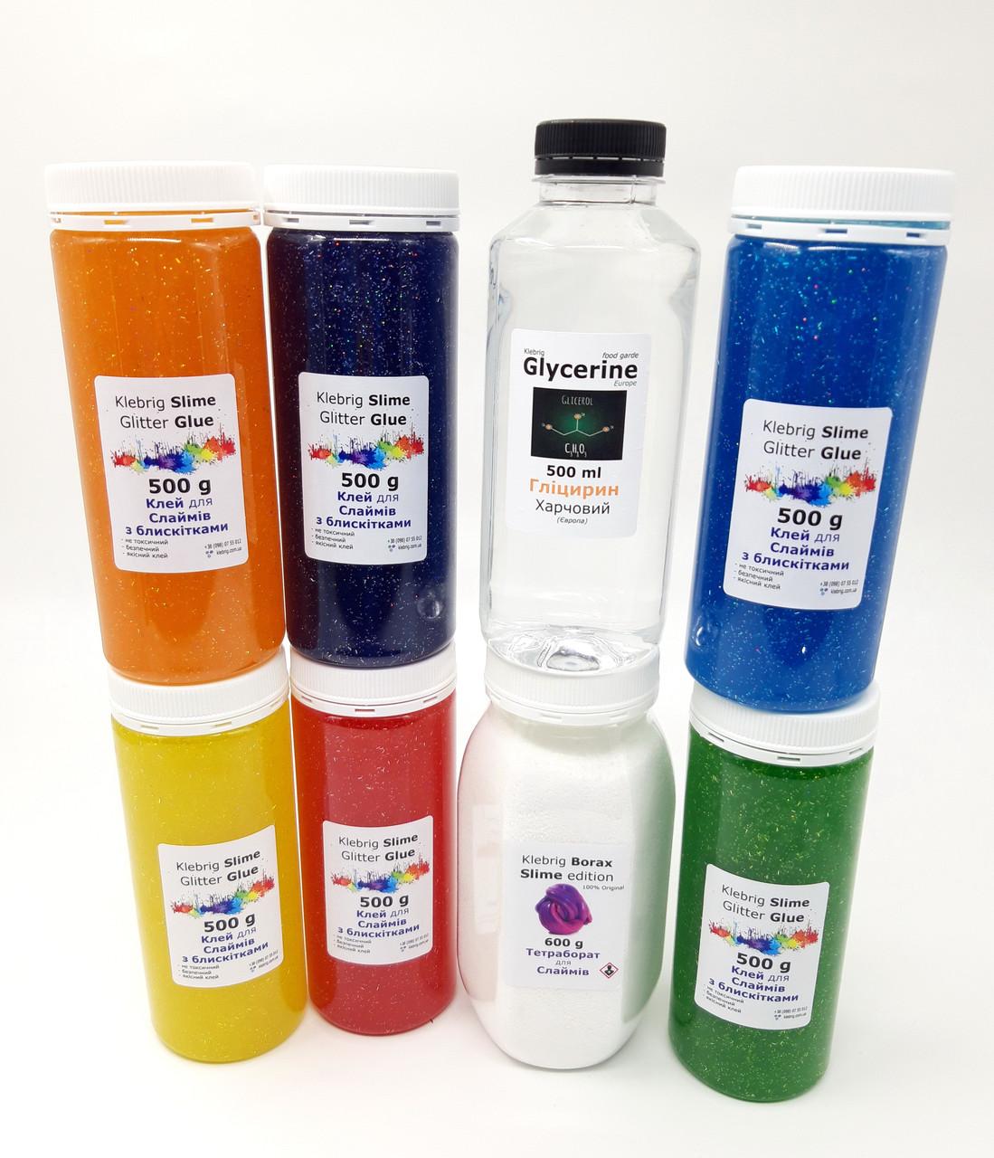 Набор для создания Слаймов 6+1 цветов клея, Боракс и Глицерини баночки