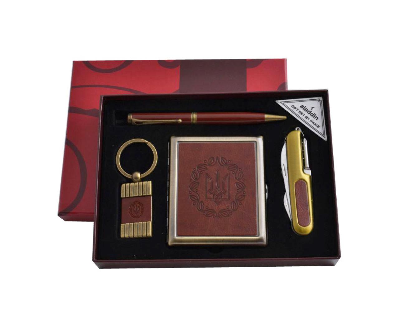 Подарочный набор для мужчины портсигар, складной нож, ручка и брелок Moongrass 4в1