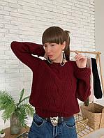 Бордовый женский вязаный свитер с узорами, фото 1