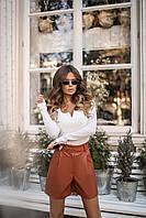 Женские стильные шорты из эко-кожи с поясом (42-46) Коричневый, фото 1